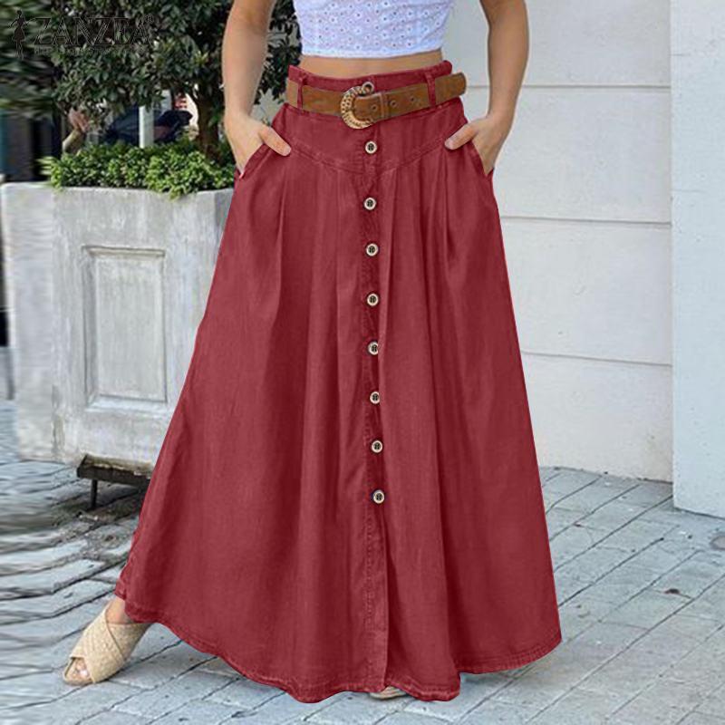 2021 ZANZEA stylowy przycisk długie spódnice kobiety jesień Sundress Casual wysokiej talii długie Vestidos kobiet jednolita szata Femme Plus rozmiar