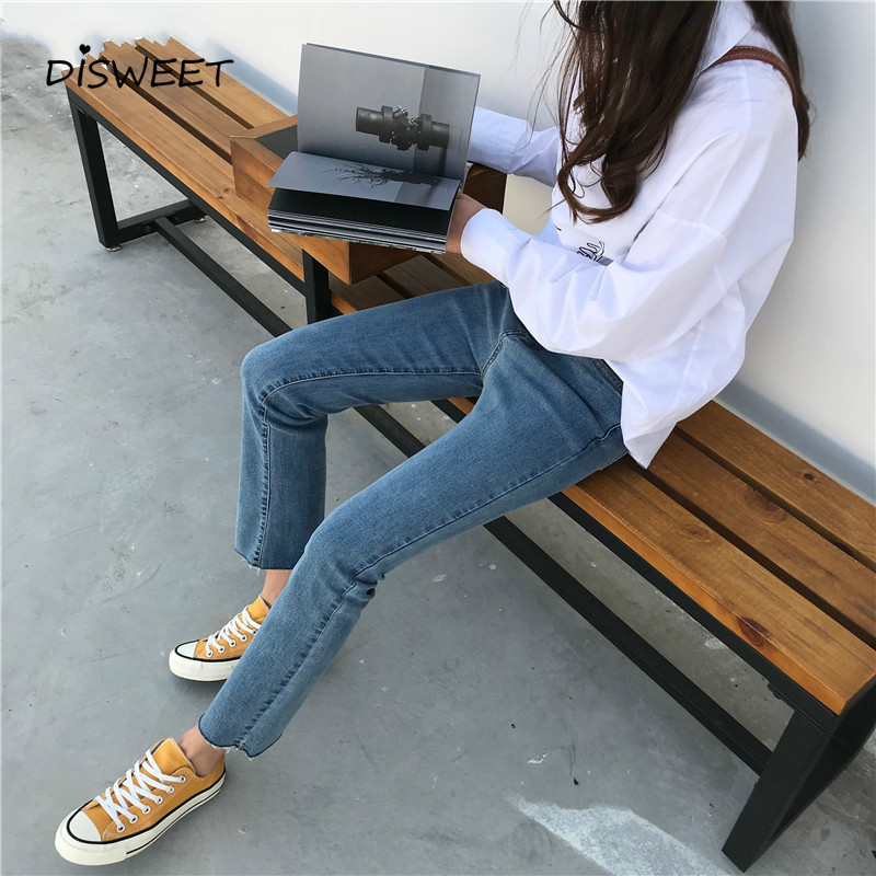 Jeans Women 2019 Casual High Waist Vintage Ankle-length Womens Flare Jean Korean Style All-match Simple Zipper Fly Trendy Daily