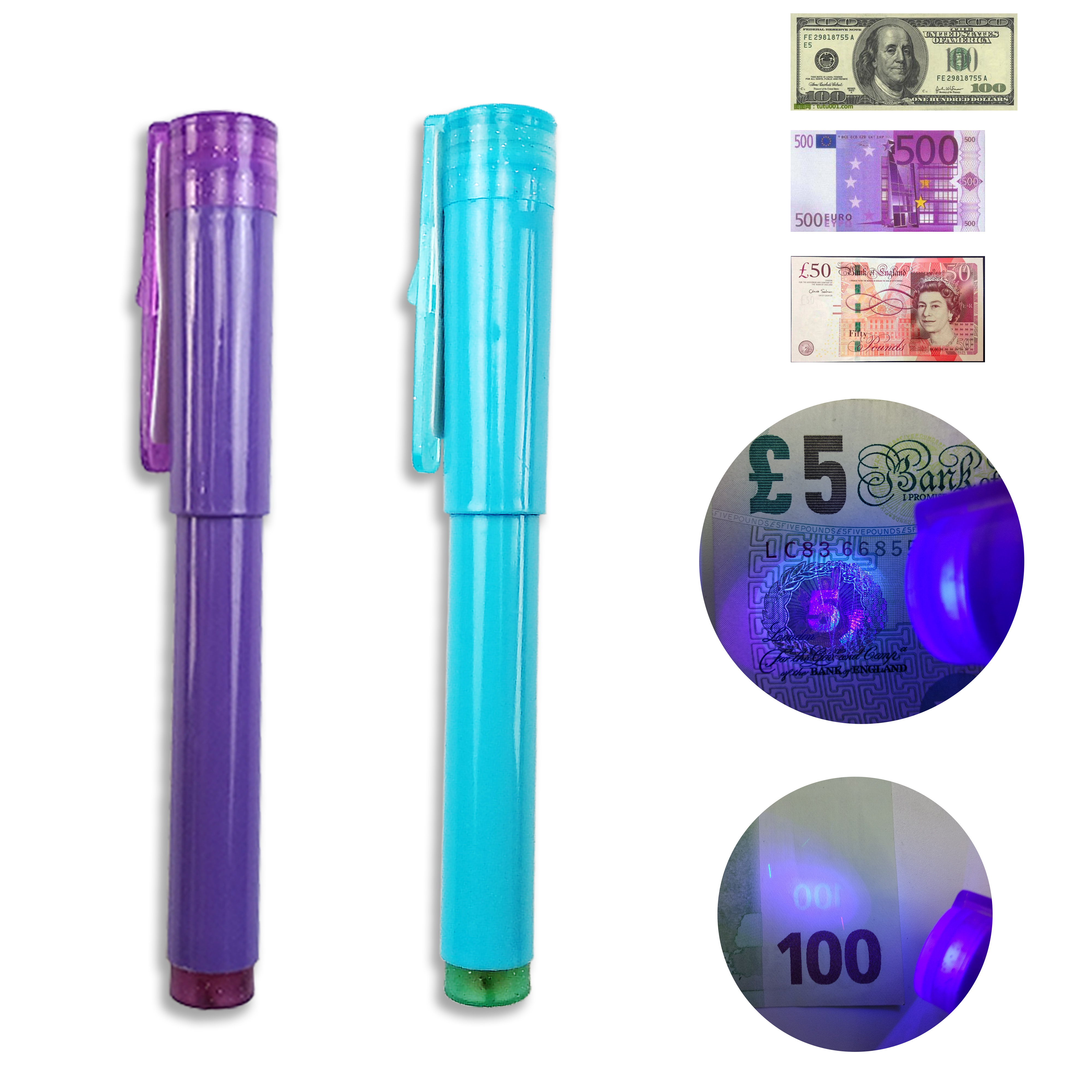 2 IN 1 Detector Pen with UV light Counterfeit Bank Note Tester Pen with Ball point Convenient Handy fake money Detector ball pen|Money Counter/Detector| |  - title=