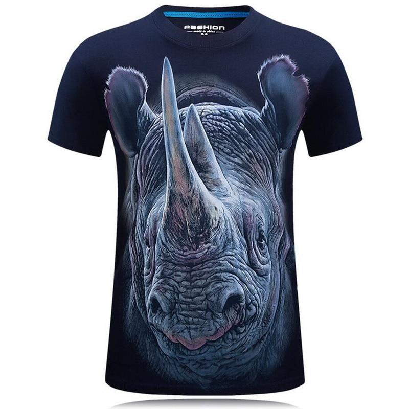 Bella Estate di Modo 3D Divertente T Camicette Uomini Animale Cotone Stampato Manica Corta O Neck T Camicette Punk Maschio Magliette e camicette magliette Camisetas 7XL