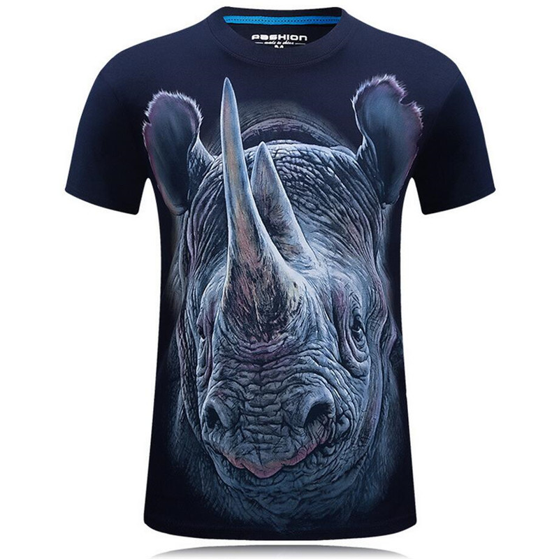 Nice Summer Fashion 3D Funny T Shirts Men Animal Printed Cotton Short Sleeve O Neck T shirts Punk Male Tops Tees Camisetas 7XL