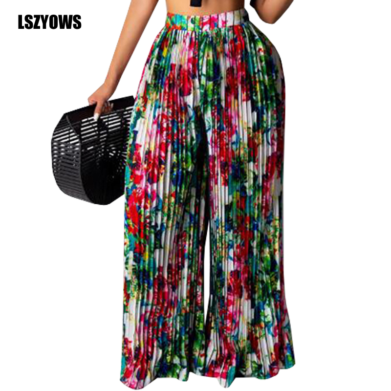 Vintage Print Bohemian   Wide     Leg     Pants   Women Summer Pleated High Waist Trousers Streetwear Casual Female Beach Party Loose   Pants