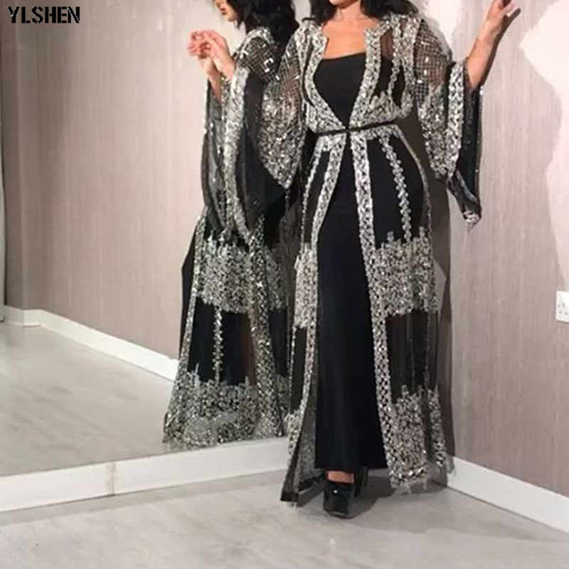 2020 Abaya 두바이 무슬림 복장 고급 고급 스팽글 자수 레이스 라마단 카프 탄 이슬람 기모노 여성 터키어 이드 무바라크