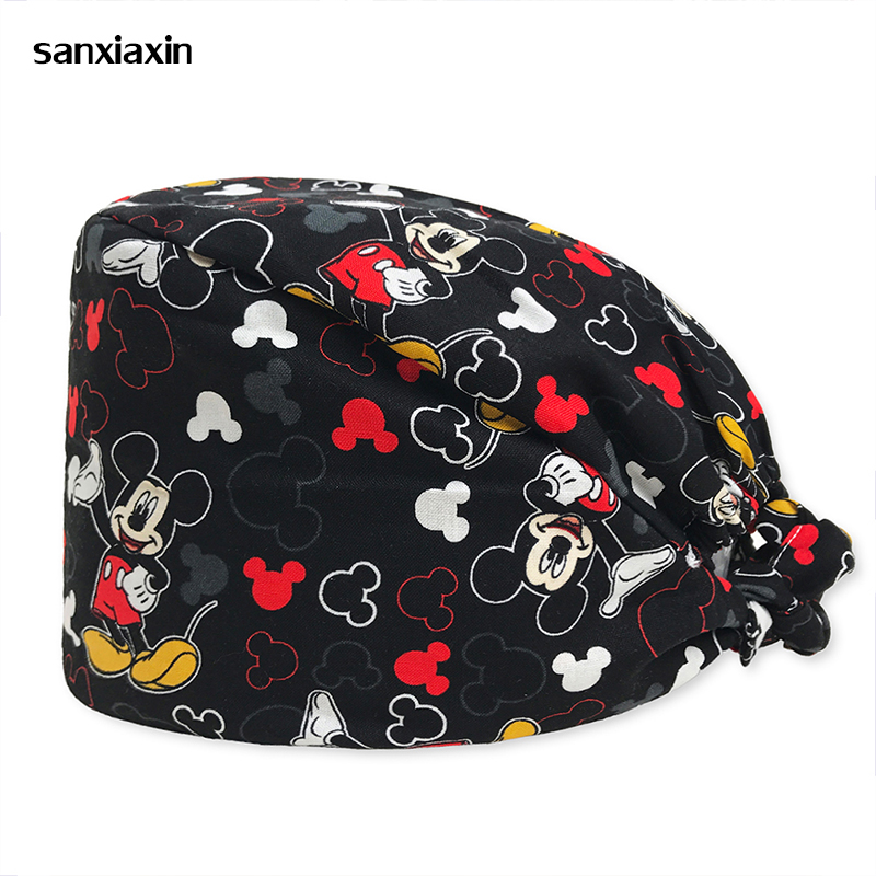 Sanxiaxin New Breathable Print Adjustable Pet Hospital Work Hats Surgical Caps Women Men Doctor Nurse Caps Beauty Pharmacy Hats