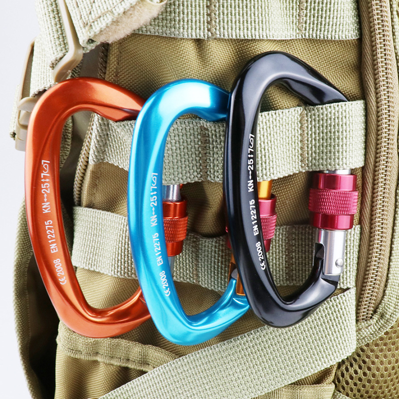Professional Carabiner D Shape 25KN Climbing Buckle Security Safety Master Lock Outdoor Rock Climbing Buckle Equipment