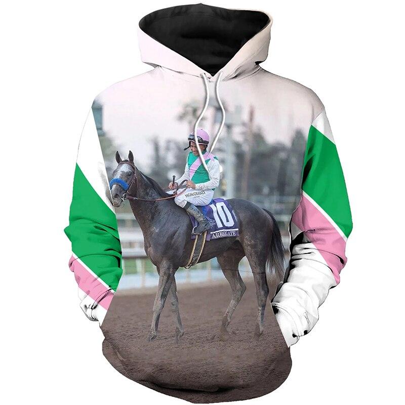 PLstar Cosmos animal Champion medal horse racing 3d hoodies/Sweatshirt Winter autumn long selvee ARROGATE MIKE-9