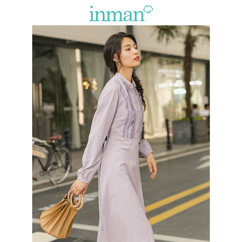 INMAN Spring Autumn Winter Elegant Little Turn Down Collar Contrast Embroidery Defined Waist A-line Purple Women Dress