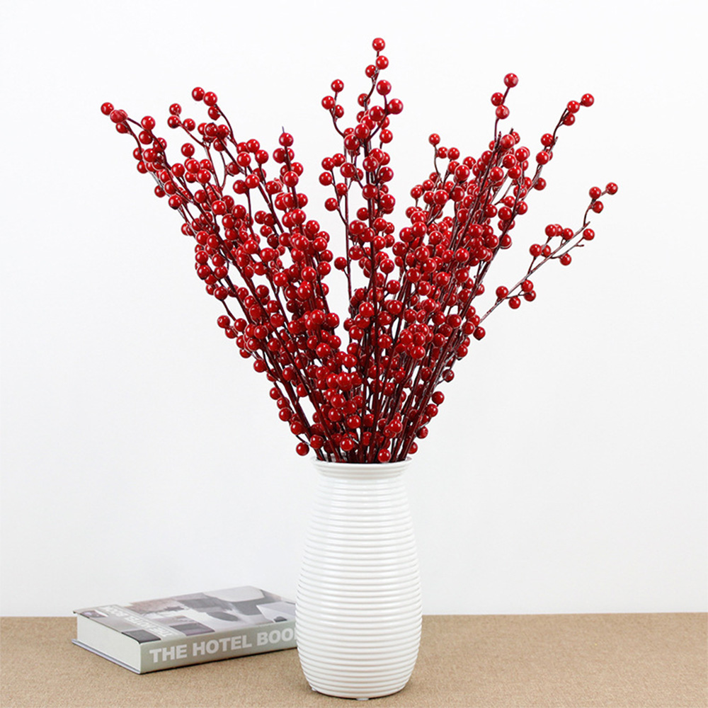 Artificial Branche Pine Berry Fake Flower Home Decor Red  Festival Fruit Decor