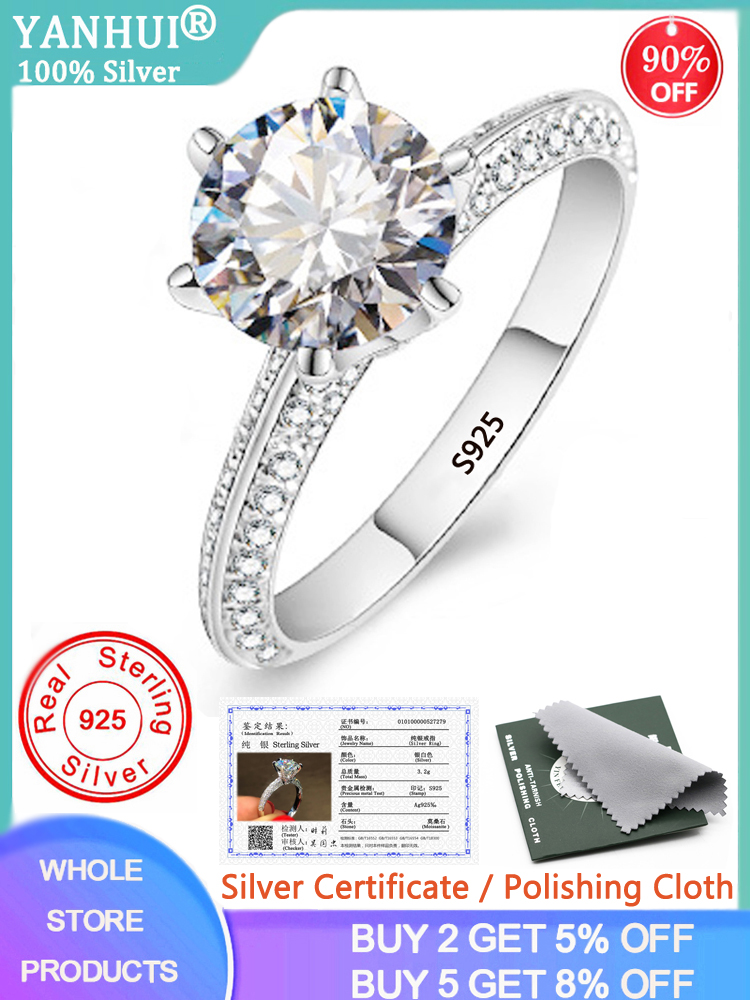 YANHUI Engagement Rings Fine-Jewelry Lab Diamond Wedding 925-Sterling-Silver Luxury Bride
