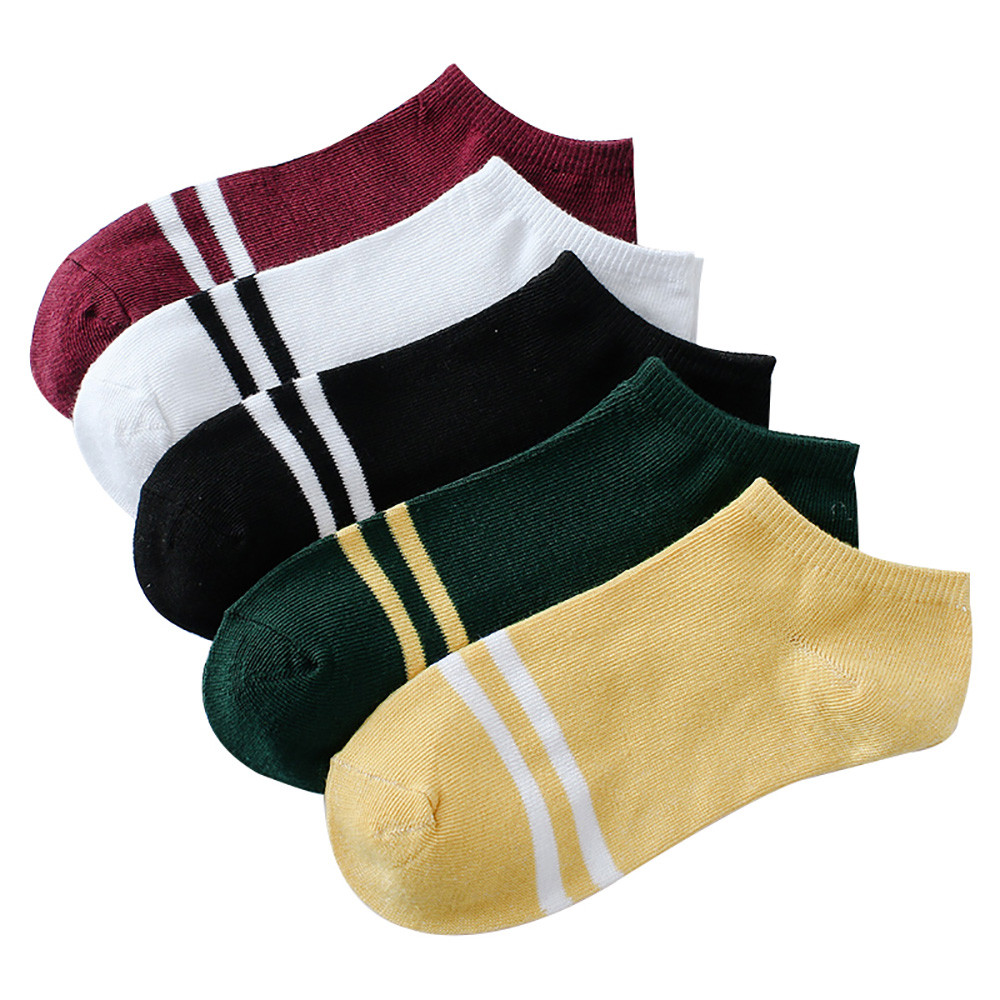 1Pairs Women Comfortable Stripe Cotton Socks Women Slippers Short Ankle Socks In Five Color High Quality New Fashion 2019 @3