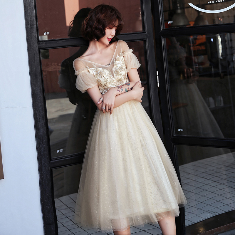 2019 Hot Sale Half Small Party Evening Dress Female 2020 New Brief Paragraph Aristocratic Temperament Host Sexy Show Thin Fairy