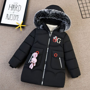 Image 5 - Детская зимняя куртка с капюшоном, с украшением в виде кролика