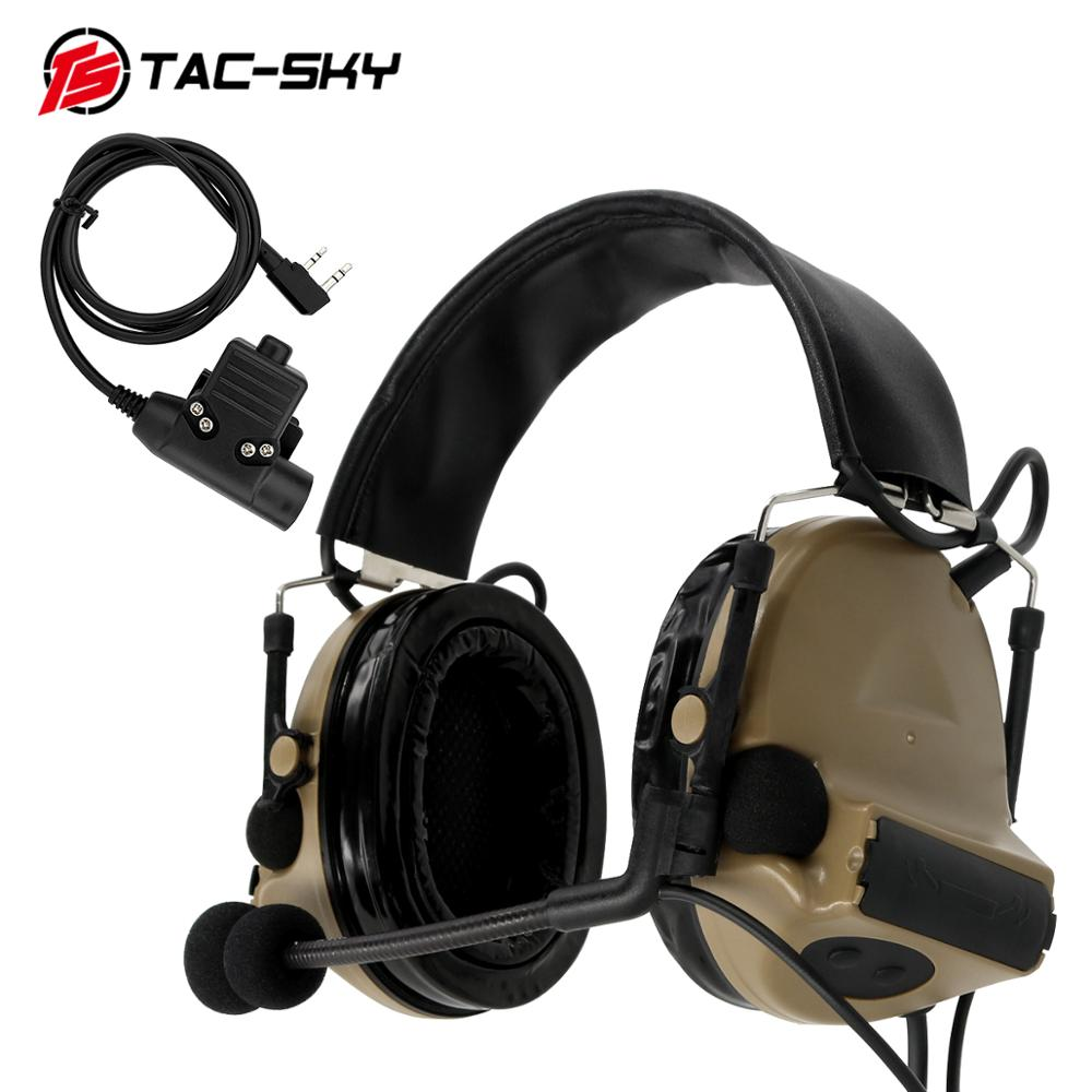 TAC-SKY COMTAC II Silicone Earmuffs Hearing Noise Reduction Pickup Military Tactical Headset DE+ U94 Kenwood Plug PTT