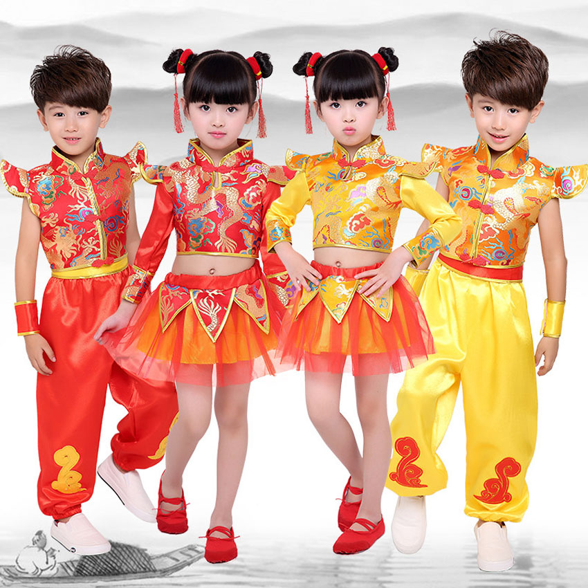 Chinese Traditional New Year Costumes Dragon And Lion Dance Children Kids Clothing Set Red Kungfu Wushu Uniform Tang Suit Hanfu