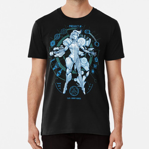 Проект M-синяя футболка с принтом игровая Metroid Samus Aran Geekchic Geek Nerd ретро