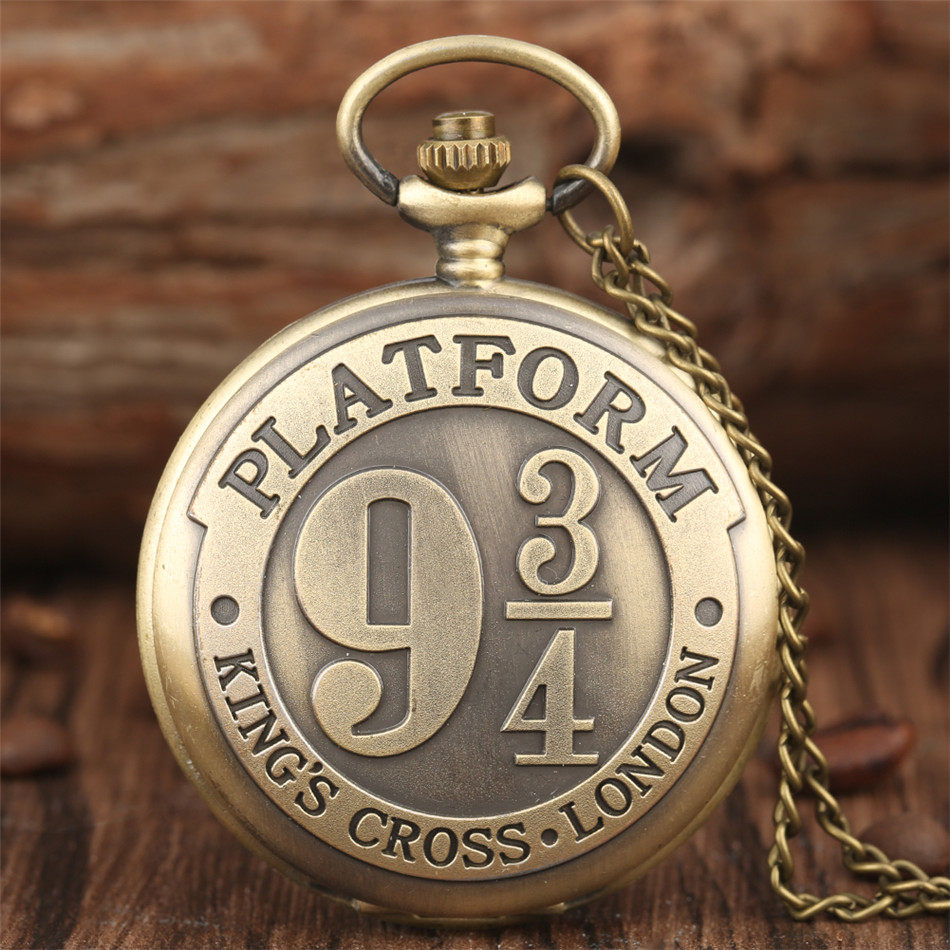 Bronze/ Black/ Silver/Gold King's Cross London 9 3/4 Platform Design Quartz Pocket Watch Retro Necklace Watch Cool Antique Clock