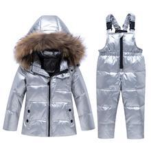 รัสเซียฤดูหนาวชุดเด็กหญิง2019ชุดเด็กเสื้อผ้าชุดเด็กDuck Down Jacket Coat + Overallsอบอุ่นเด็กSnowsuit