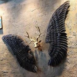 Retro vento industrial decoração de parede pendurado ferro asa anjo decoração da parede bar café festa foto fornecimento murais asas ferro