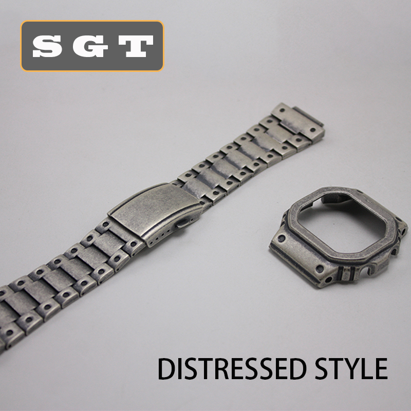 High Quality DW5600 GW-5000 5035 GW-M5610  Retro Style 316L Stainless Steel Watchband And Case Metal Strap Steel Belt Tools