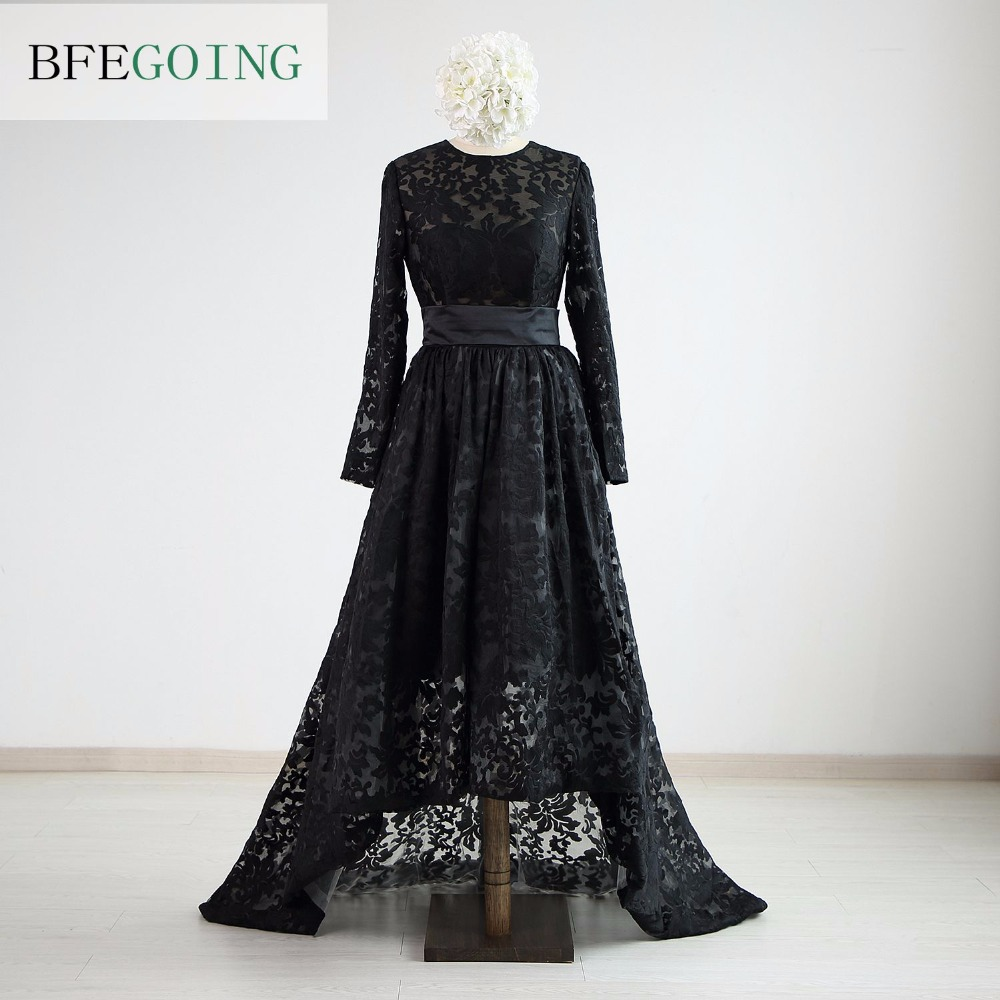 Black Lace Long Sleeves Floor-length A-line Mother Of The Bride Dress Chapel Train Custom Made