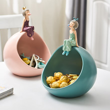Home decoration accessories Modern girl blowing bubbles storage box resin Anime decoration fairy tale figurines gift decoration