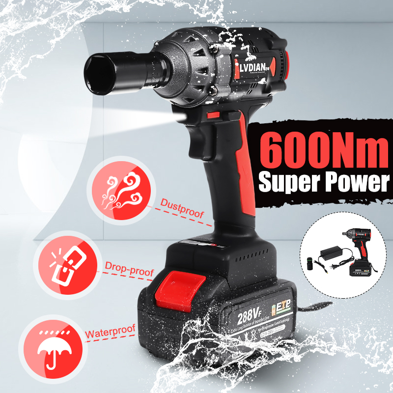 288VF 600N.M High Torque Brushless Cordless Impact Electric Wrench Li Ion Battery  Home Car/SUV Wheel Socket Wrench Power Tools
