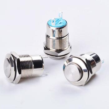 12MM metalowy Stain przełącznik zatrzaskowy zasilania przycisk płaski wysokiej głowy 1NO chwilowy typ zatrzaskowy 2PIN System samochodowy użytku domowego tanie i dobre opinie CN (pochodzenie) Przełączniki