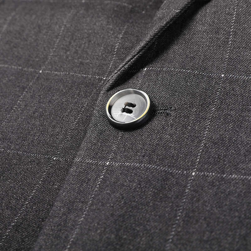 Осенние клетчатые мужские блейзеры с длинным рукавом костюм с одной пуговицей, деловые, повседневные, приталенный мужской костюм куртки мужские пальто брендовая Блейзер Masculino