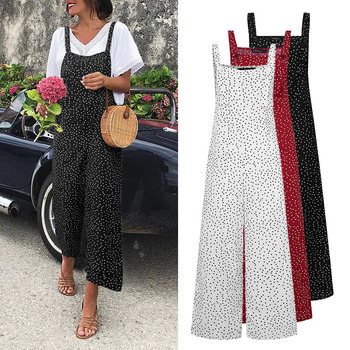 Celmia Vintage Women Jumpsuits Sexy Sleeveless Straps Overalls Summer Wide Leg Trousers Solid Linen Romper Casual Long Pants 5XL