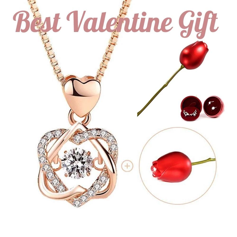 2021 комплект ожерелья с подвеской в форме сердца с роза искусственный цветок творческий шкатулка для ювелирных изделий Двойное сердце подве...