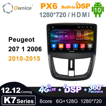 K7 Coming Android 10.0 Ownice Autoradio 2 Din for Peugeot 207 1 2006 2010 - 2015 Car Radio Auto GPS Multimedia DSP 1280*720 PX6 image