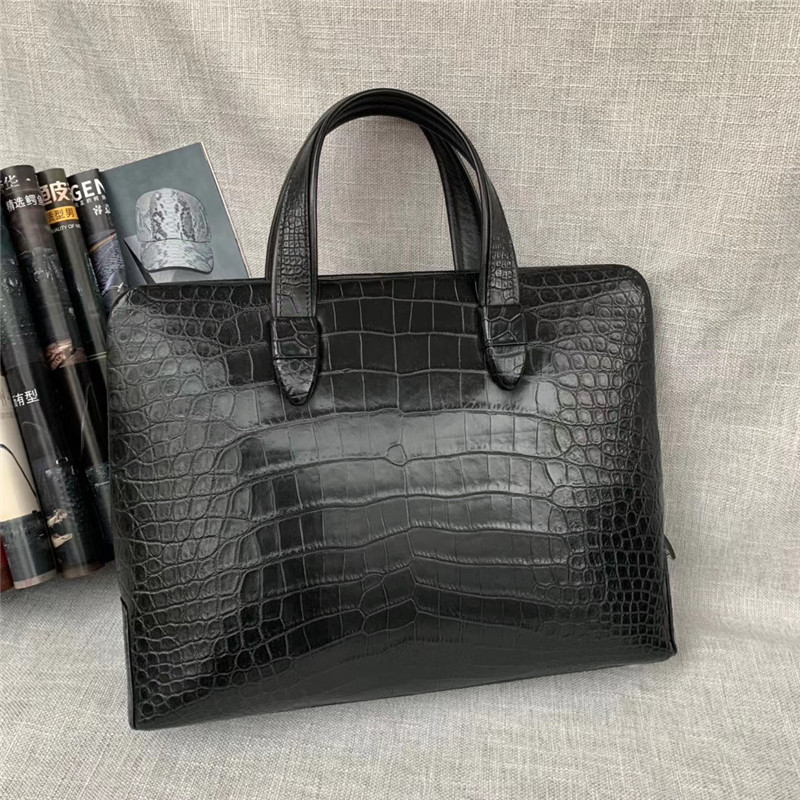 Authentic Real Crocodile Belly Skin Businessmen Passcoded Briefcase Handbag Genuine Alligator Leather Male Large Portfolio Purse