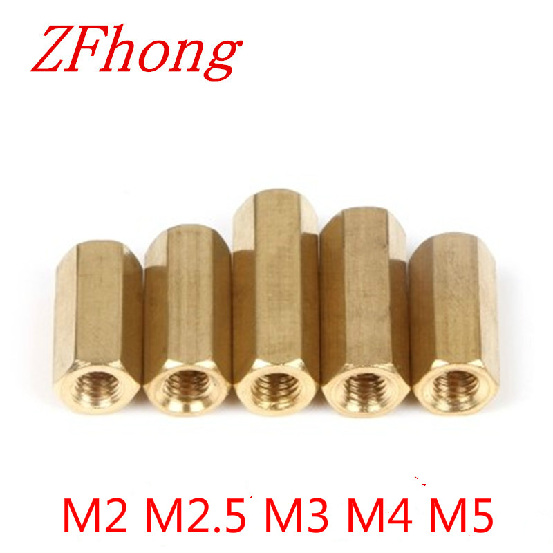 5-50 шт. M2 M2.5 m3 m4 m5 * L Шестигранная Латунная муфта с резьбой, латунная прокладка длиной от 3 мм до 50 мм