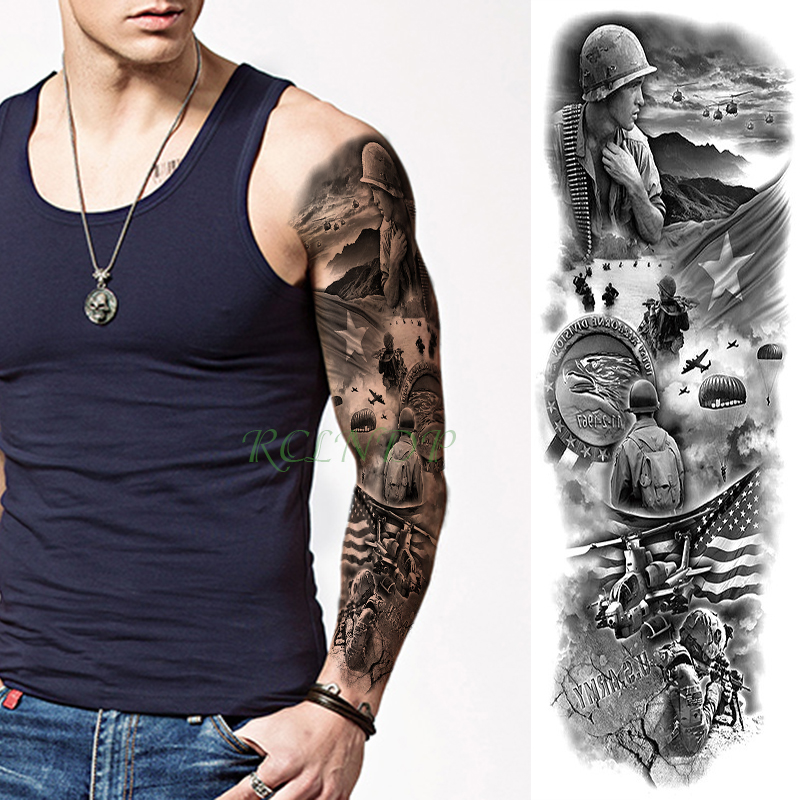 Waterproof Temporary Tattoo Sticker War Plane China Usa Full Arm Large Size Fake Tatto Big Flash Tatoo Sleeve For Men Women Girl