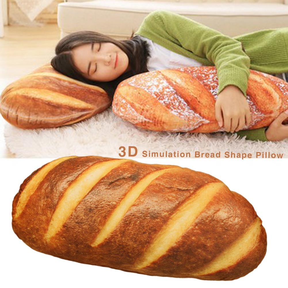 Funny 3D Simulation Bread Shape Pillow Soft Lumbar Back Cushion Plush Stuffed Toy For Home Bedroom Decoration