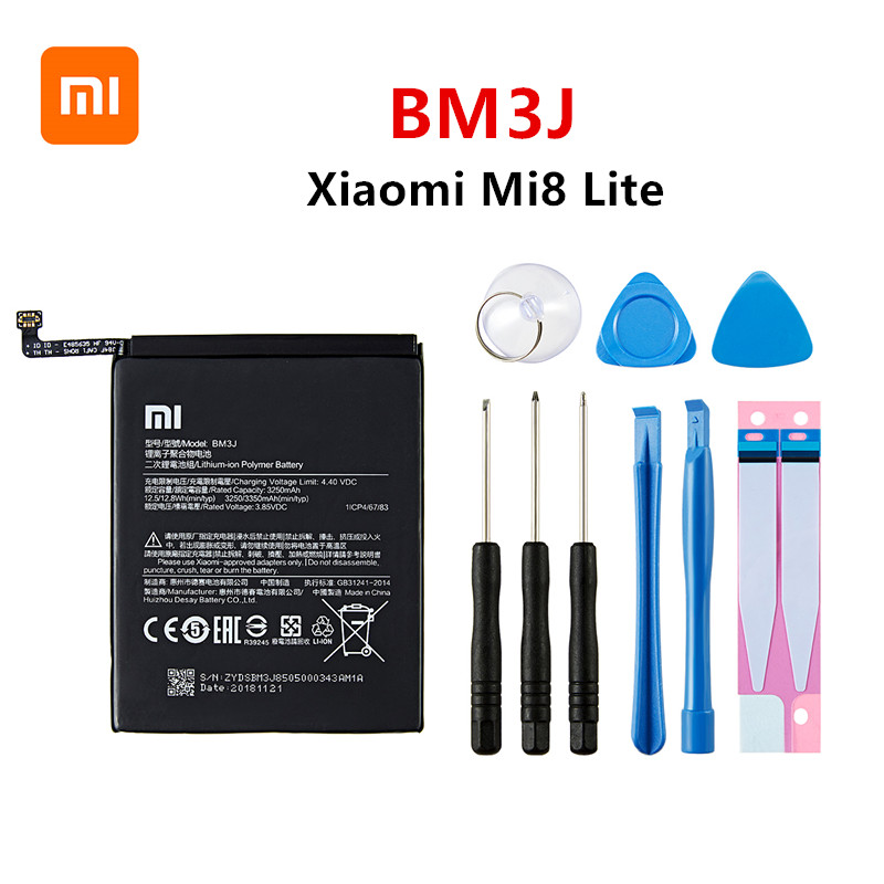 Xiao Mi 100% Orginal BM3J 3350mAh Battery For Xiaomi 8 Lite MI8 Lite BM3J High Quality Phone Replacement Batteries +Tools