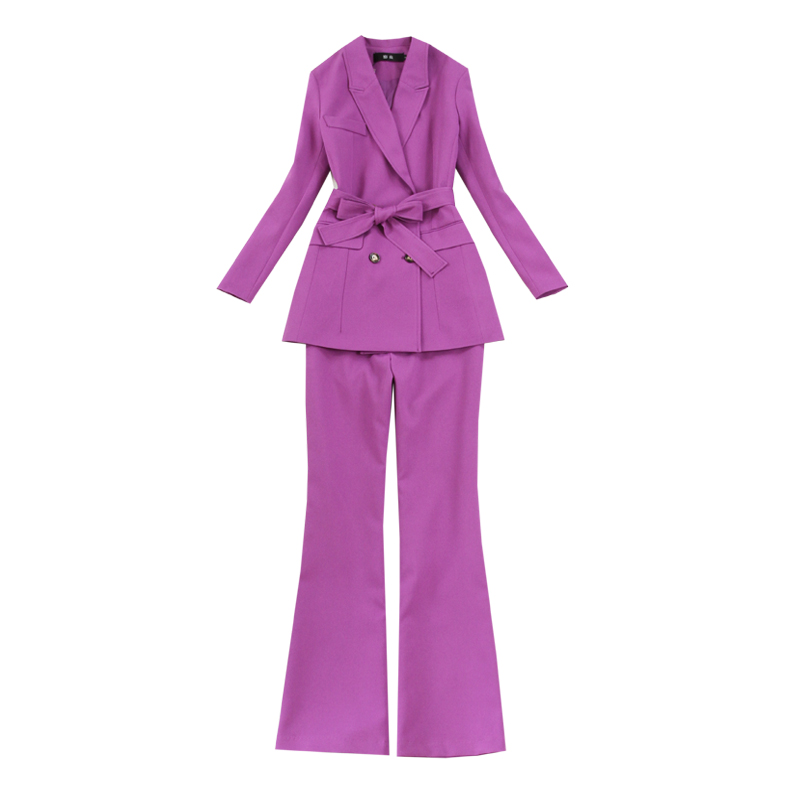 Temperament Women's Pants Suits High Quality Workwear 2020 New Spring And Autumn Ladies Jacket Blazer Fashion Flared Trousers