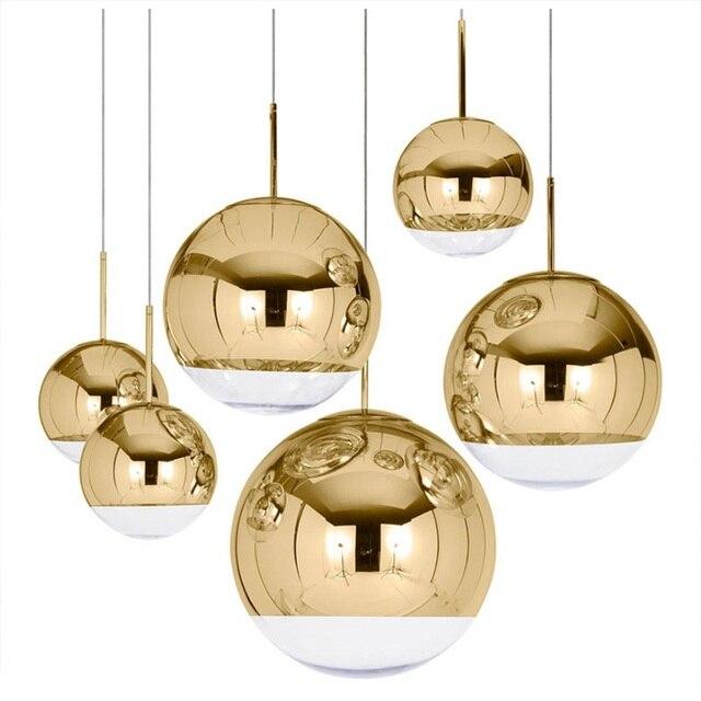 LukLoy مرآة الحديثة كرة زجاجية قلادة ضوء النحاس الفضة الذهب غلوب لوفت Hanglamp لمبة عصرية ضوء مطبخ تركيبات
