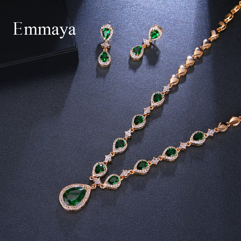 Image 3 - Emmaya New Arrival Rose Gold Green Waterdrop Appearance Zirconia Charming Costume Accessories Earrings And Necklace Jewelry SetsBridal Jewelry Sets   -
