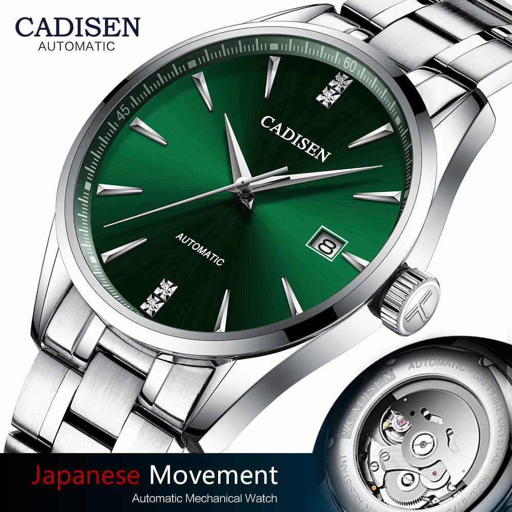 CADISEN الأخضر الساعات الرجال الفاخرة الفولاذ المقاوم للصدأ التلقائي ساعة ميكانيكية رجل العلامة التجارية الأعلى 50 متر مقاوم للماء الأعمال ساعة اليد الرجال