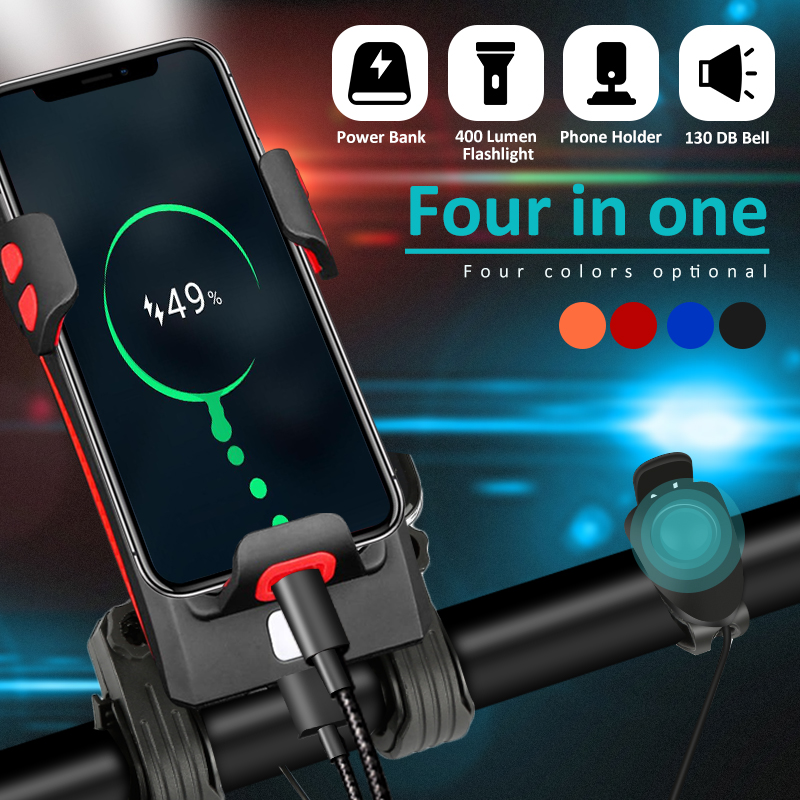 4 In 1 Bicycle Phone Holder Bike Headlight Bicycle Front Lamp Cycling Horn Power Bank Phone Bracket Rechargeable Waterproof