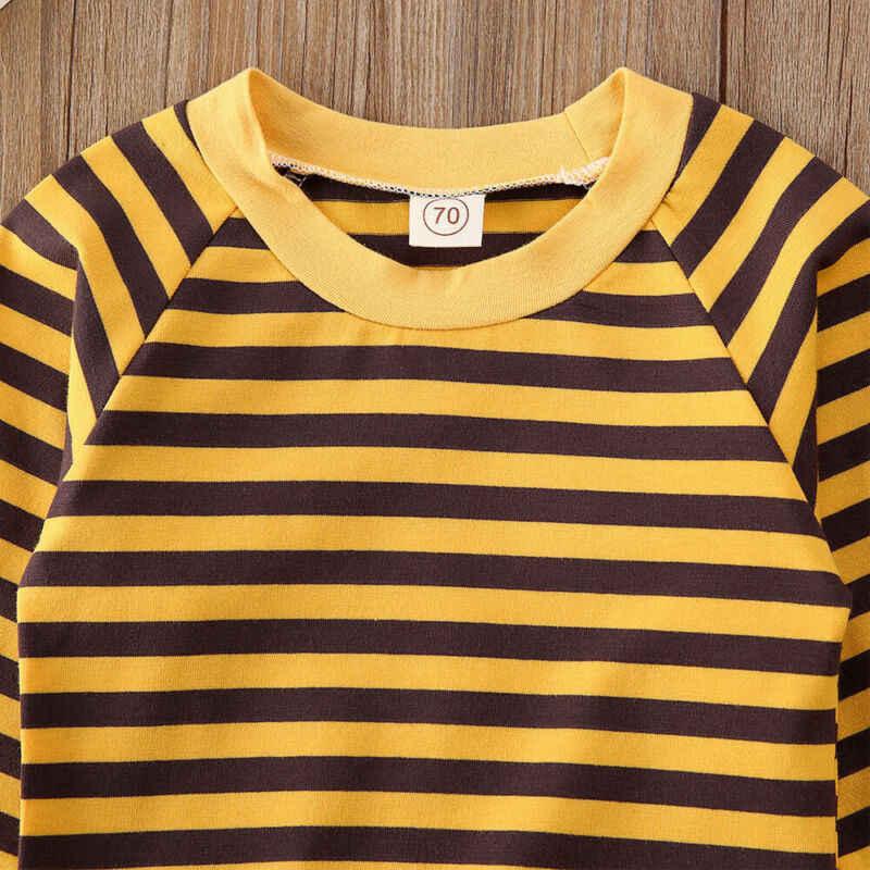귀여운 신생아 유아 유아 소녀 겨울 탑스 겉옷 스트라이프 스웨터 의류 2019 새로운 패션 줄무늬 옐로우 화이트 탑스