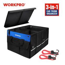 Caja de almacenamiento para coche WORKPRO, organizador de herramientas plegable resistente al agua, bolsa de maletero multifuncional con estilo para coche