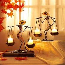 Portavelas de Metal Vintage, decoración romántica para el hogar, candelabro de hierro, decoración para habitación, boda, Navidad, candelabro, decoración para Cena