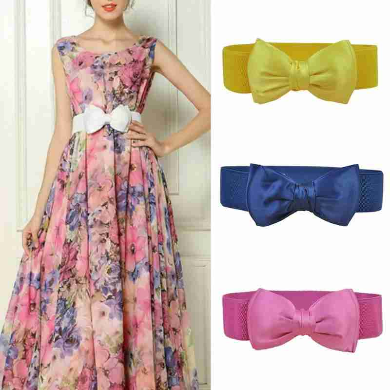 1pc Fashion Chiffon Black Bow Waist Seal Elastic Belts For Women Ladies For Dress Korean Bow Wide Waist Seal Corset Belt