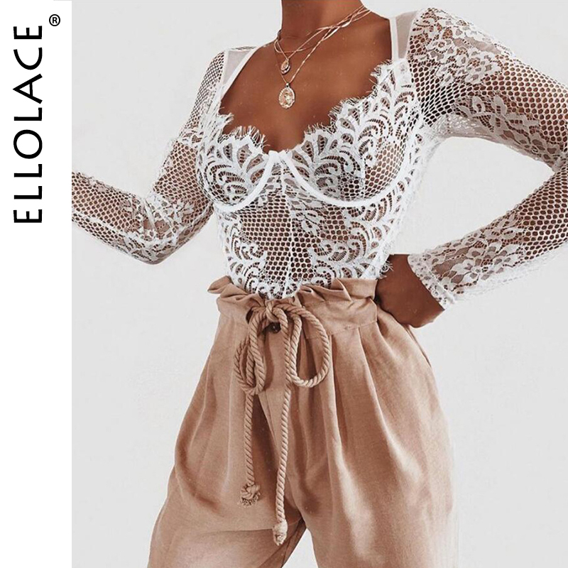 Ellolace Sexy Lace Bodysuit Women Deep-v Long Sleeve Rompers Bodycon Bodys Summer Overalls Female Mesh Fashion 2019   Jumpsuit