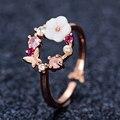 Модные хрустальные цветы обручальные кольца для женщин нежные циркониевые регулируемые открытые кольца на палец ювелирные изделия милые в...