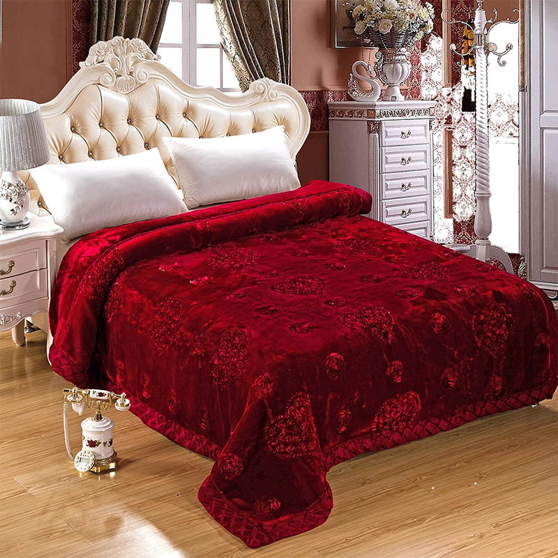 Soft Raschel Bedding Blanket Embroidered Wedding Home Textile Mink Winter Thick Warm Fluffy Fat Quilt On The Bed