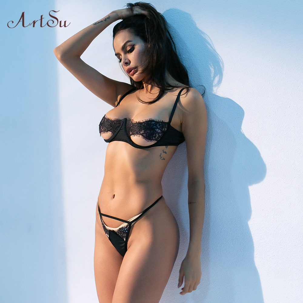 ArtSu Two Pieces Sexy Bra And Panty Set Lace Lingerie Set Steel Ring Sleeveless Backless Briefs Set Intimates Push Up ASSU60434