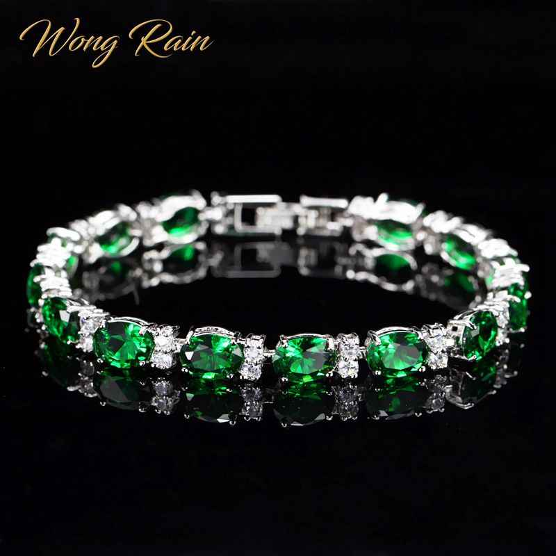 Wong Rain Bohemian 100% 925 Sterling Silver Emerald Sapphire Ruby Amethyst Gemstone Bangle Charm Bracelet Fine Jewelry Wholesale